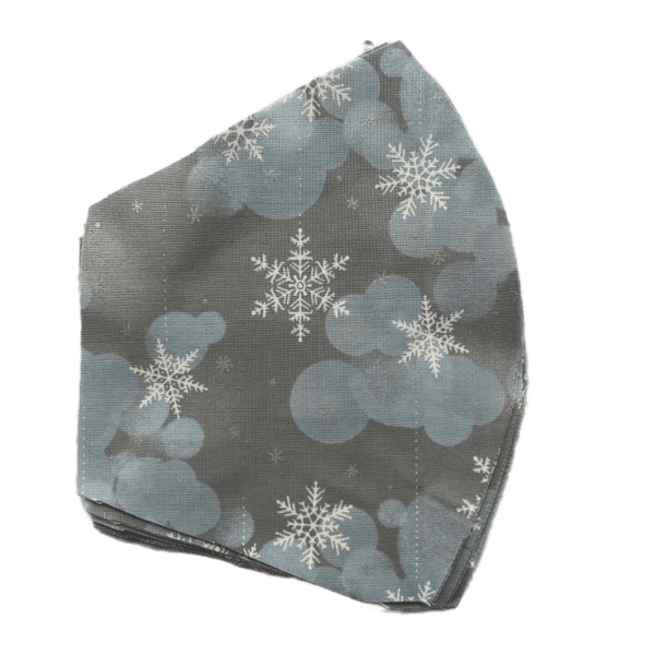 Holiday Snowflakes on grey and blue , Three Layer Face Mask