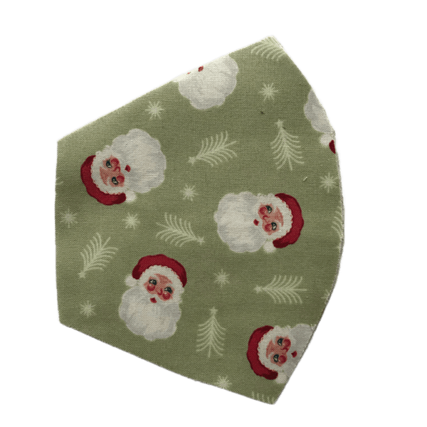Holiday Vintage Santa on Green, Three Layer Face Mask