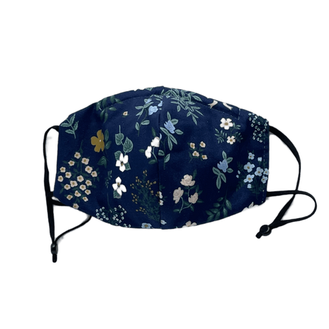 Tiny Flowers  on Navy, Three Layer Mask