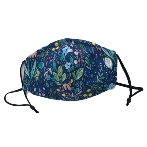 Watercolour Floral on Navy, Three Layer Face Mask