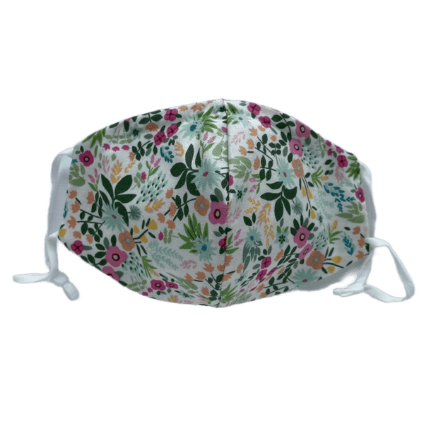 Floral on White, Three Layer Face Mask