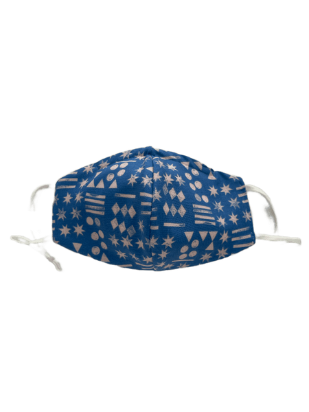 Abstract Shapes On Blue -  Three Layer Face Mask
