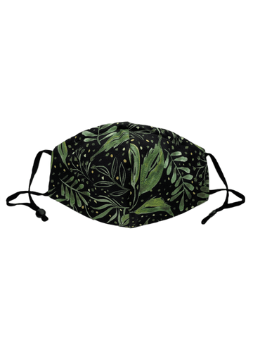 Green Ferns And Leaves On Black -  Three Layer Face Mask