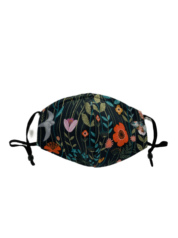 Grey Birds And Floral On Black -  Three Layer Face Mask