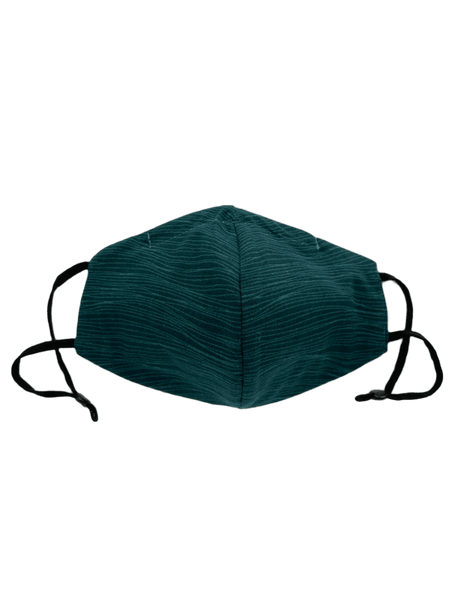 Wavy Lines on Deep Teal, Three Layer Face Mask