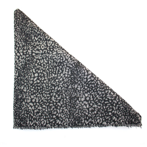 Grey and Black Leopard Print Triangle Scarf
