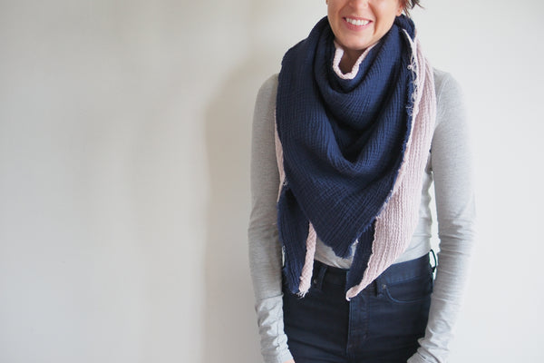 Musk and Navy Gauze Blanket Scarf