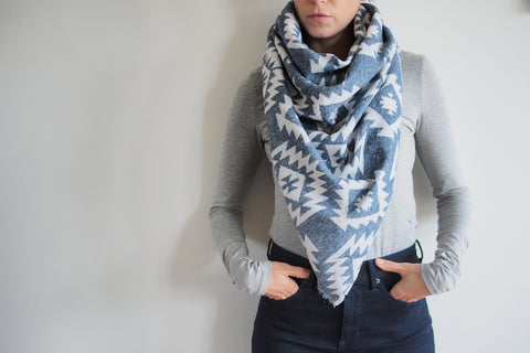Blue and White Aztec Print Triangle Scarf