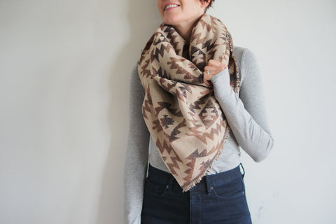 Beige & Brown Aztec Triangle Scarf