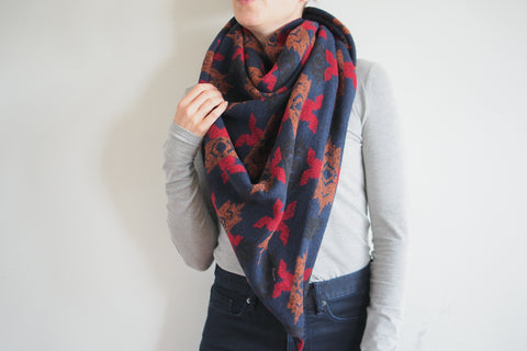 Navy Orange and Red Triangle Scarf