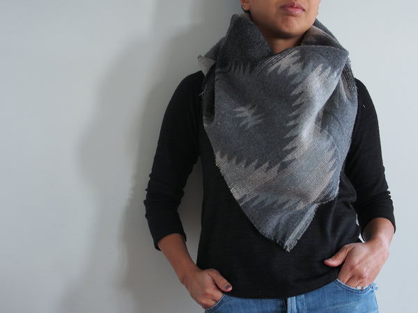 Grey Neutrals Southwest Triangle Scarf