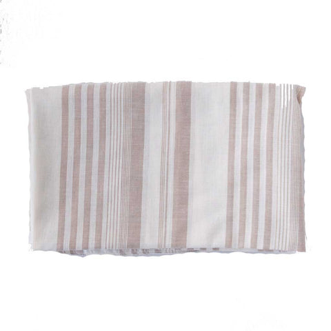 Beige and White Striped Blanket Scarf