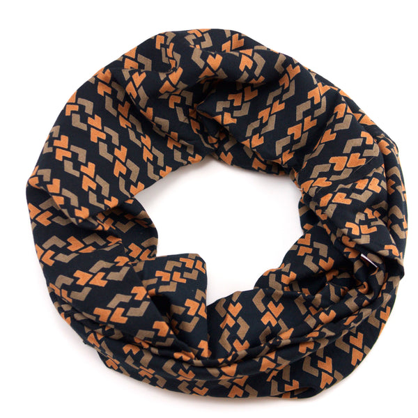 Black with Orange and Olive Links