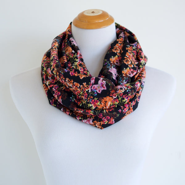 Black and Neon Floral Infinity Scarf