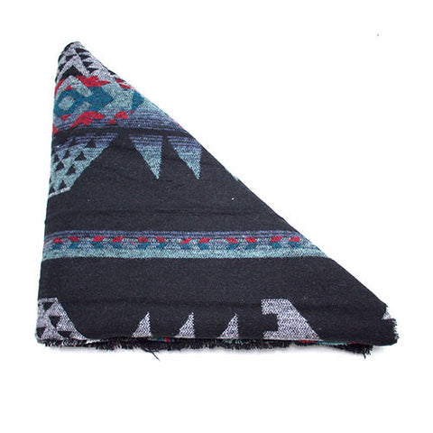 Black Red Blue Teal Southwest Print Triangle Scarf