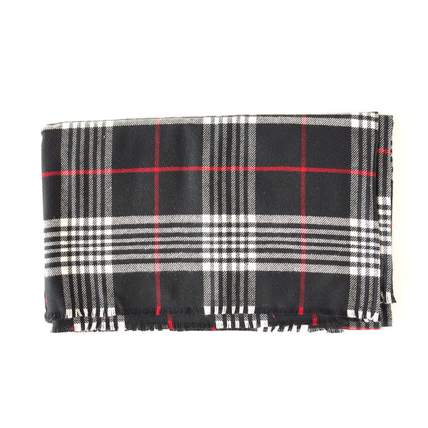 Black Red and White Plaid Blanket Scarf