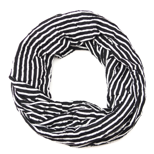 Crinkled Striped Jersey Infinity