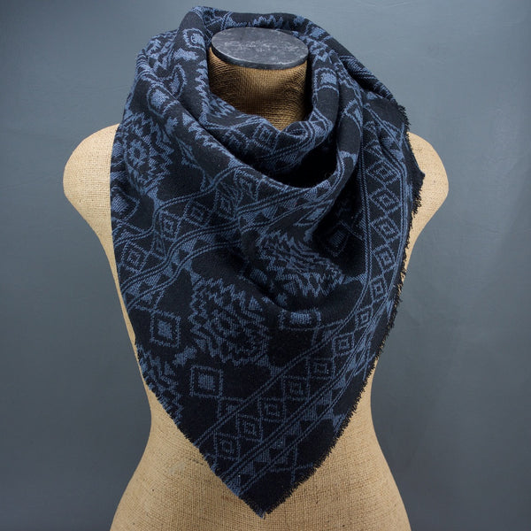 Black and Blue Aztec Triangle Scarf