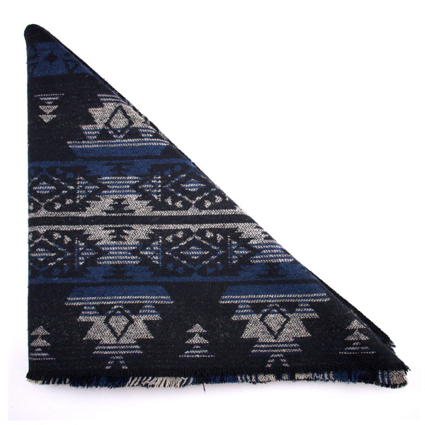 Blue Black and Grey Tribal Print Triangle Scarf