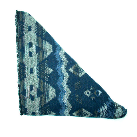 Blue Blue Brown Triangle Scarf