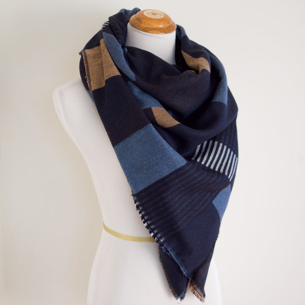 Blue, Black, Gold and White Block Blanket Scarf
