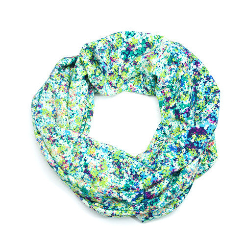 Confetti Green and Blue Floral Infinity Scarf
