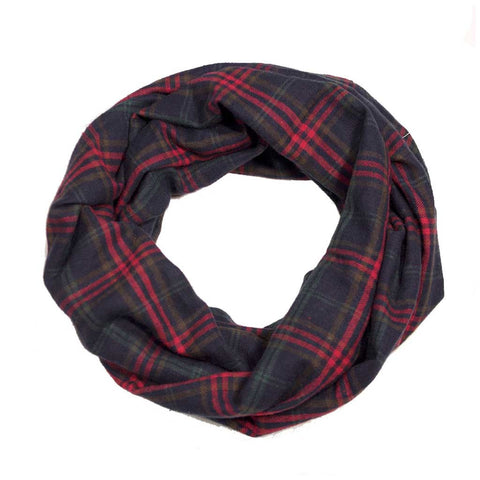 Blue Olive Red Plaid Flannel