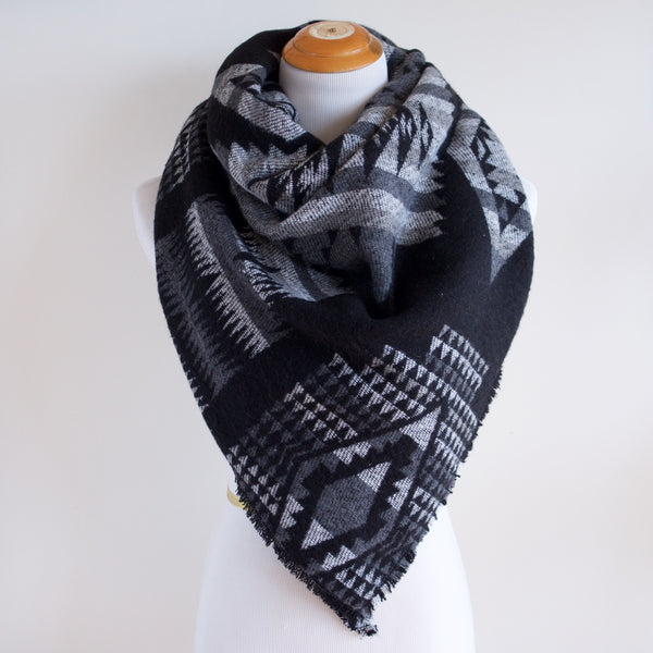 Black White and Grey Southwest Print Triangle Scarf