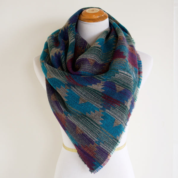 Blue Purple Grey and Green Southwest Triangle Scarf