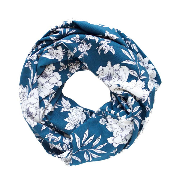 Blue and White Floral Lightweight Infinity Scarf