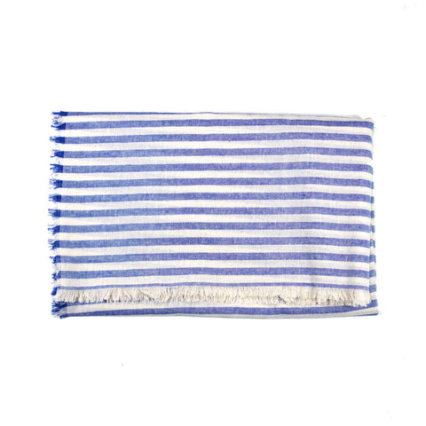 Blue and White Striped Blanket Scarf