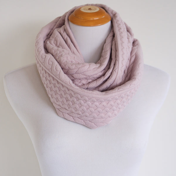 Blush Cable Knit Sweater Infinity Scarf