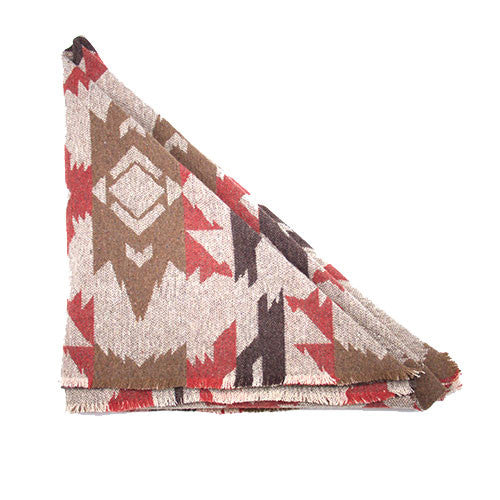 Beige Brown and Orange Aztec Triangle Scarf