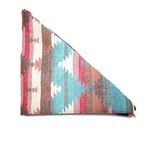 Brown Orange Red Teal Cream Southwest Triangle Scarf