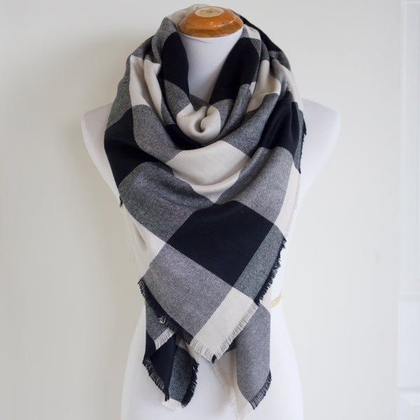 White and Black Buffalo Plaid Blanket Scarf