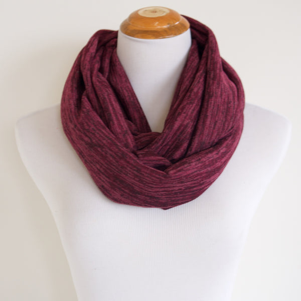 Burgundy Heathered Sweater Knit Infinity Scarf