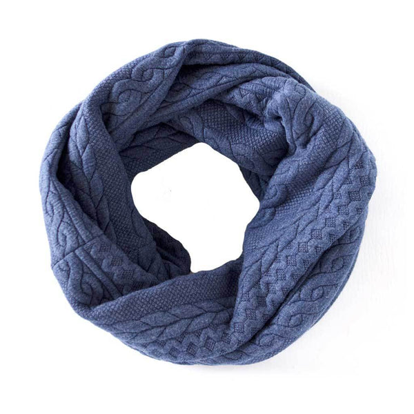 Blue Cable Knit Sweater Infinity Scarf