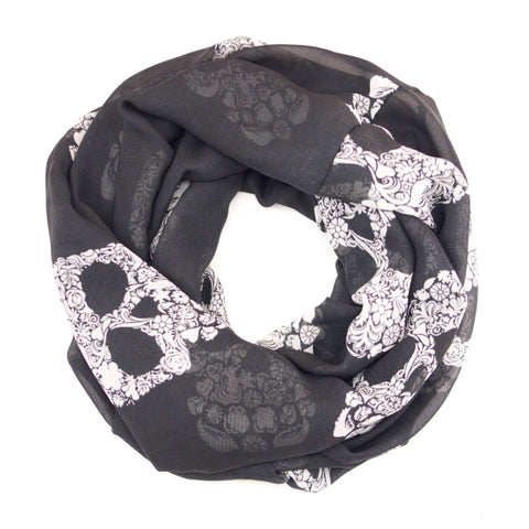 Black And White Fancy Floral Skull Chiffon Infinity Scarf