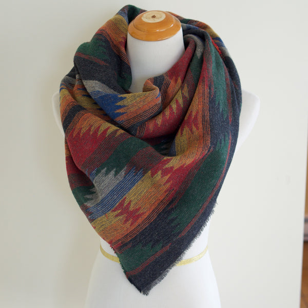 Red Blue Green and Yellow Triangle Scarf