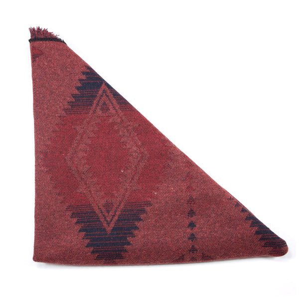 Copper Red Blue Aztec Triangle Scarf