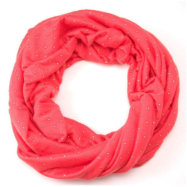 Jewelled Coral Jersey Scarf