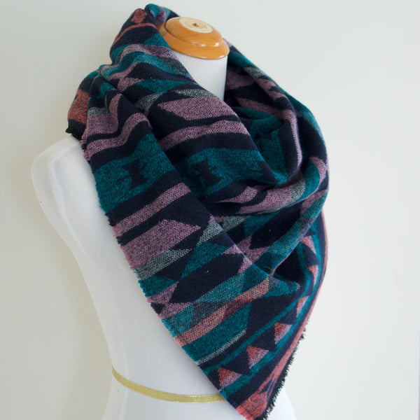 Coral Teal Navy and Pink Triangle Scarf