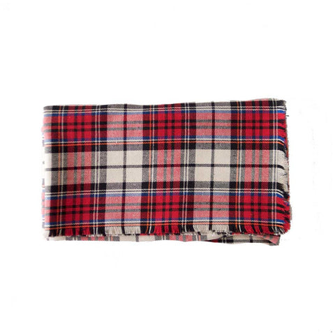 Red White Plaid Cotton Blanket Scarf