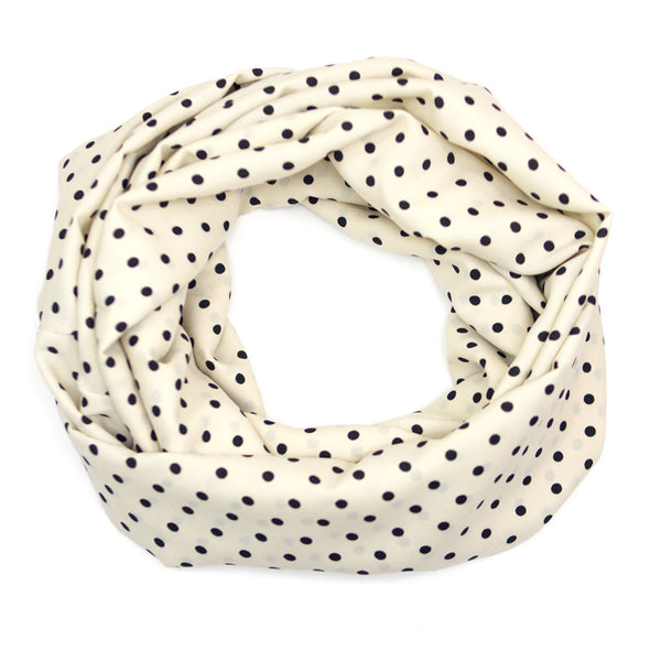 Cream and Black Polka Dot Infinity