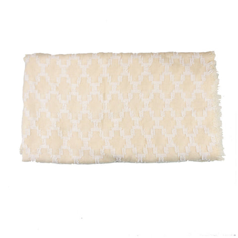 Cream and White Mosaic Blanket Scarf