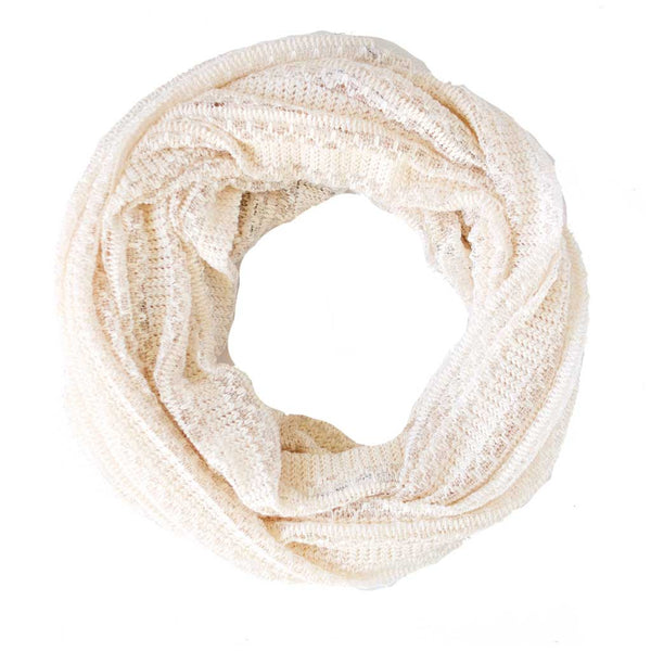 Cream Lacey Sweater Knit Infinity Scarf
