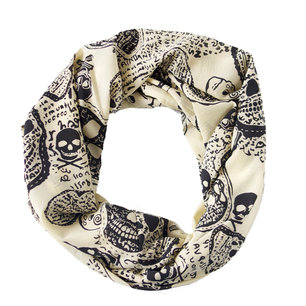 Cream and Black Skulls Infinity Scarf