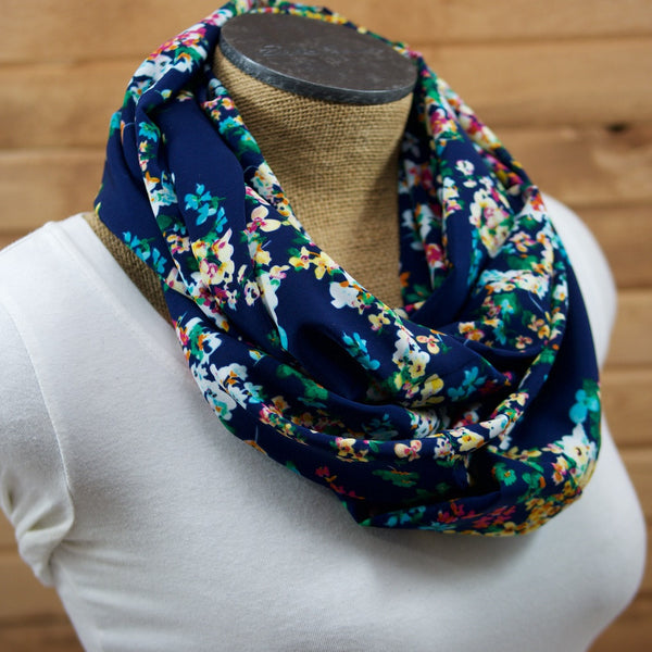 Blue and bright floral lightweight infinity scarf
