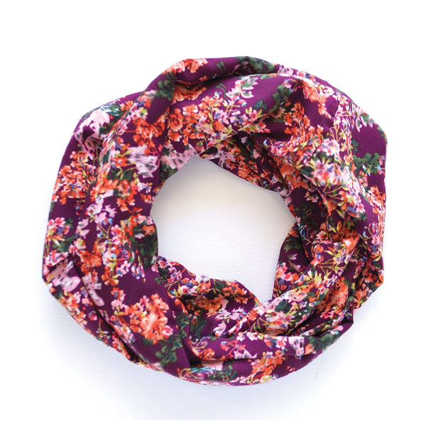 Eggplant Floral Infinity Scarf