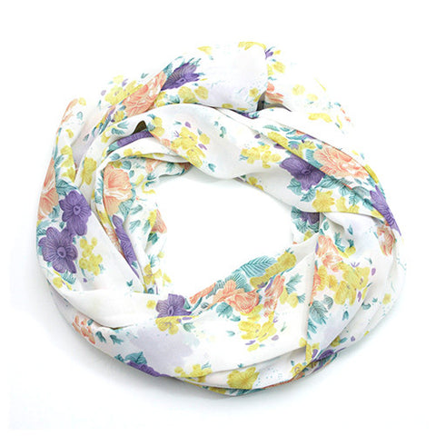 Vintage Purple, Pink and Yellow Floral Infinity Scarf